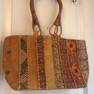 Embroidered boho shoulder bag w/ bamboo handles